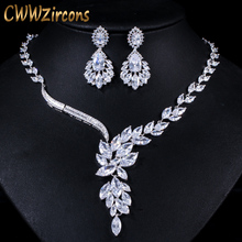 CWWZircons Brand Cubic Zirconia Wedding Jewelry Accessories Bridal Rhinestone Necklace and Earring Sets for Brides T142