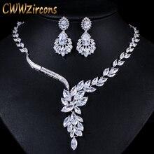 CWWZircons מותג מעוקב Zirconia חתונה תכשיטי אביזרי כלה ריינסטון שרשרת ועגיל סטי עבור כלות T142