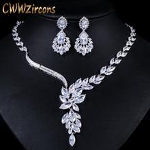 Cwwzirconsブランドキュービックジルコニアウェディングジュエリーアクセサリーブライダルラインストーンのネックレスとイヤリングのセット花嫁T142