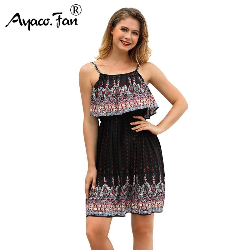 Women Holiday Beach Dress 2018 New Sexy Spaghetti Strap Backless Ruffles Summer Dresses Mini Princess Boho Sundress Vestidos