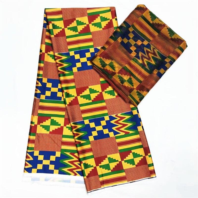 Best Quality Imitated silk fabric African print fabric 4+2 yard Nigerian Chiffon 2019 african silk fabric kent wax for wedding