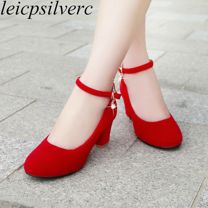 Women Pumps Shoes High Heels Sexy New Fashion Square Heel 2017 Spring Autumn Flock Shallow Buckle Party Wedding Shoes Black Red basic pump