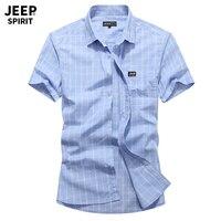 JEEP SPIRIT Brand Casual Summer Plaid Shirt Men 100%Cotton Breathable Mens Shirts Plus Size M 4XL Short Sleeve Turn down Collar