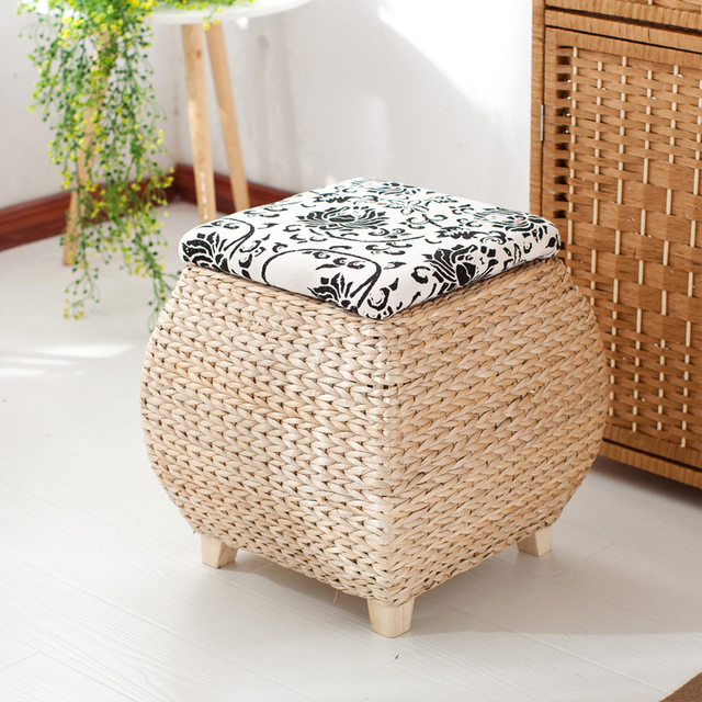 BINGONE Rattan Storage Stool Storage Box Pastoral Shoes Stools Clothes Toys  Books CDs Organizer 40*