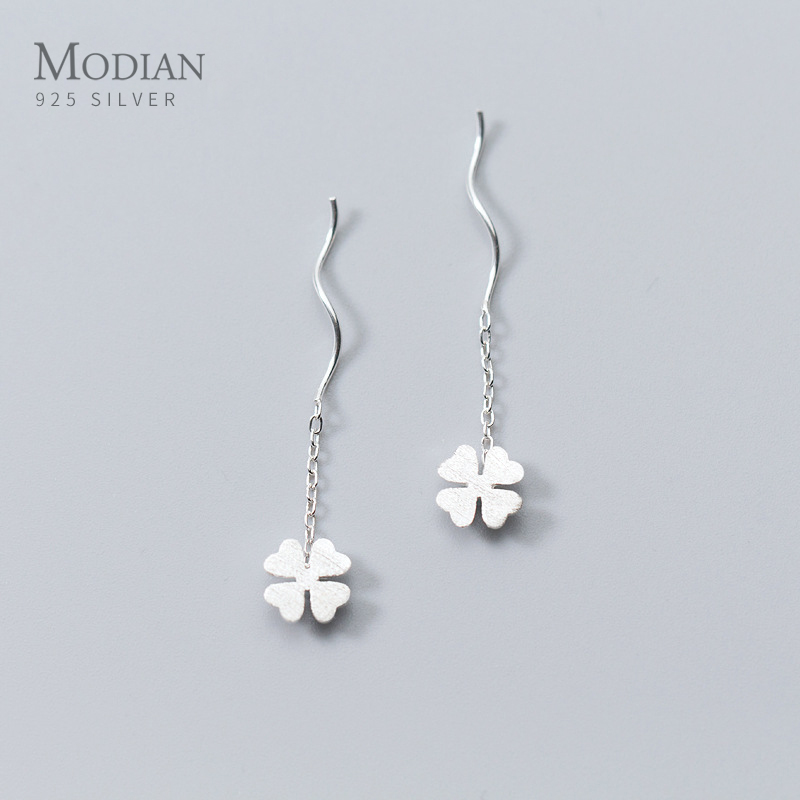 Modian Charm Four Leaf Clover Long Tassel Jewelry Fashion Chain 100% 925 Sterling Silver Swing Dangle Earrings For Women Party