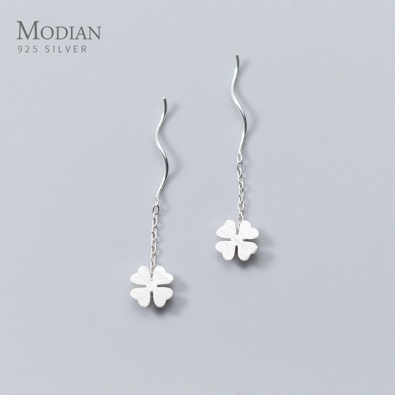 Modian Charm Four Leaf Clover Long Tassel Jewelry Fashion Chain 100% 925 Sterling Silver Swing Dangle Earrings For Women Party