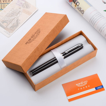 Pluma estilográfica de héroe de Metal Negro Azul Rosa Amarillo Blanco Punta fina 0,5mm plumín curvo 0,8mm para elegir los bolígrafos de tinta con caja de regalo Original
