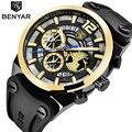BENYAR мужские часы Лидирующий бренд спортивные военные мужские часы водонепроницаемые хронограф наручные часы резиновые золотые relojes para hombre ...