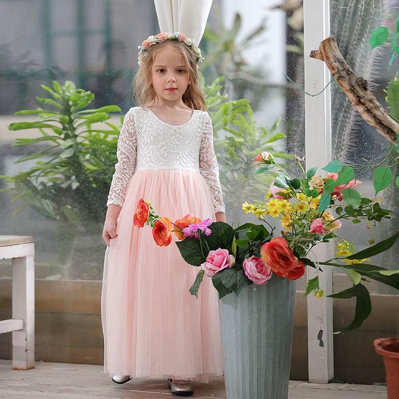 Wholesale Girl Princess Dress Ankle Length Wedding Party Dress Eyelash Back White Lace Beach Dress Children