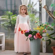 Wholesale Girl Princess Dress Ankle Length Wedding Party Dress Eyelash Back White Lace Beach Dress Children Clothing E15177