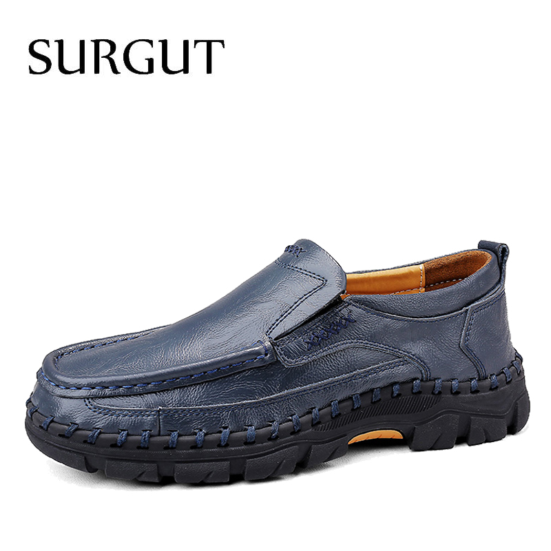 SURGUT Brand New Comfortable Split Leather Men Shoes Male Formal Business High Quality Men's Flats Loafers Men's Casual Shoes
