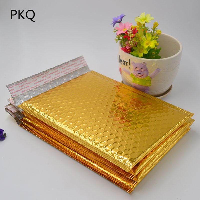 Image 2 - 50PC 3Size 15*13cm/18*23cm/20*25cm Gold Padded Shipping Envelope Metallic Bubble Mailer Gold Aluminum Foil Gift Bag Packing WrapPaper Envelopes   -