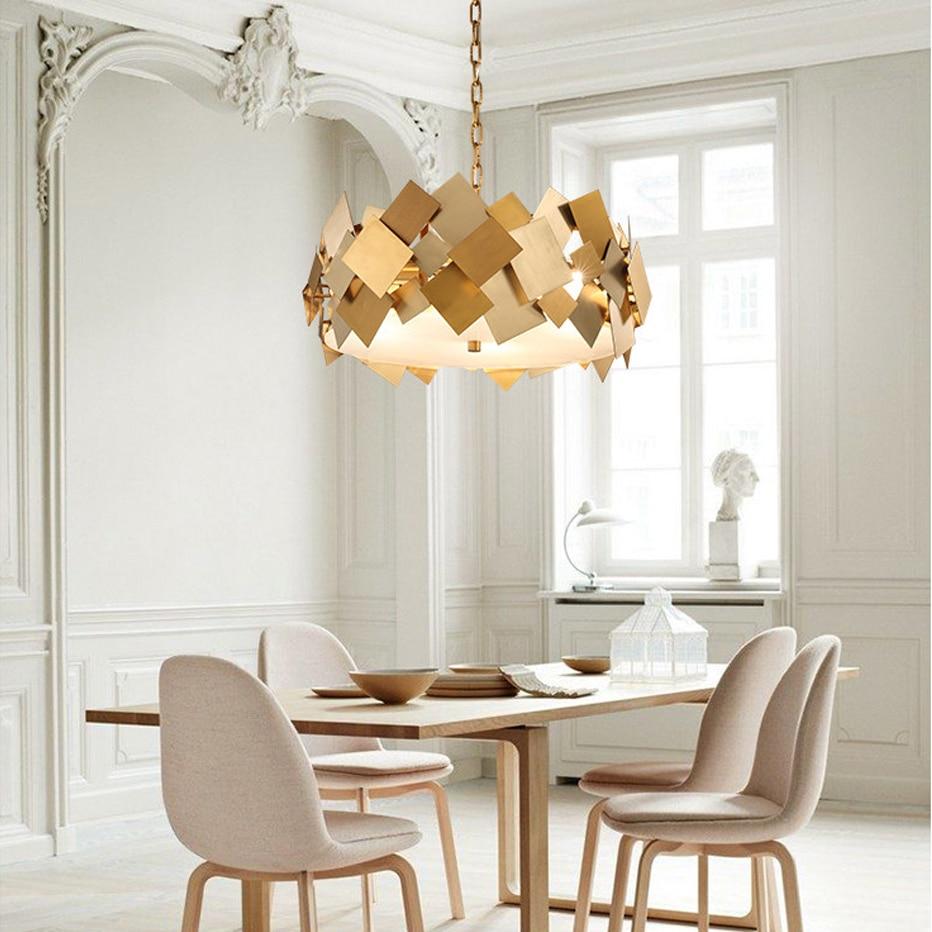 Işıklar ve Aydınlatma'ten Kolye ışıkları'de Led e14 İskandinav Paslanmaz Çelik Altın Tasarımcı led ışık. işıklar. kolye Lamba. yemek Odası Fuaye Için ışık title=