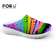 FORUDESIGNS 3D Colorful Leaf Printed Summer Mesh Sandals Women Breathable Light Weight House Slippers for Ladies Beach Flats