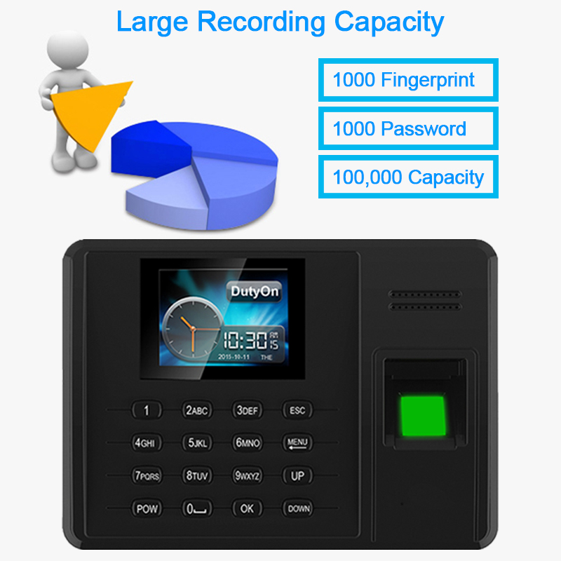 Time Attendance Fingerprint TCPIP USB Password Office Time Clock Employee Recorder Electric Biometric Fingerprint Attendance