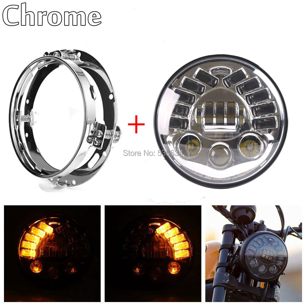 7Inch LED Round Projector Daymaker Headlight Hi/Low Turn Light+LED Headlight Mounting Bracket For Harley Davidson Softail Deluxe harley motorcycle 7 inch orange motorcycle headlight 4 5 fog daymaker hid led light bulb headlight for harley davidson