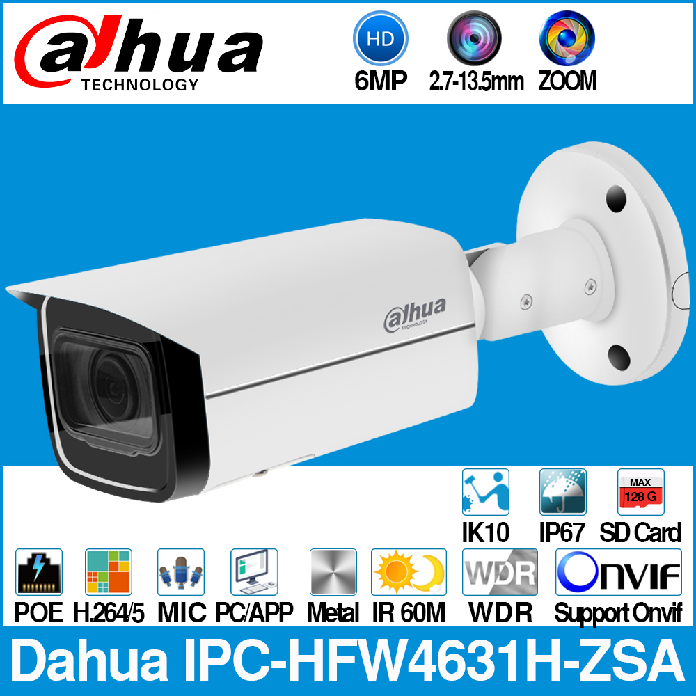 Dahua IPC-HFW4631H-ZSA 6MP IP Camera Built-In MiC Micro SD Card Slot 2.7-13.5mm 5X Zoom VF Lens PoE WDR CCTV Camera with bracket
