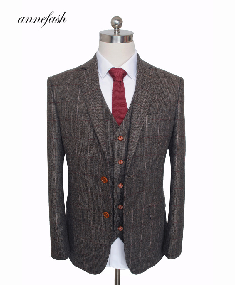 Custom Made Woolen dark brown Herringbone Tweed British style Mens suit tailor slim fit Blazer wedding men suit 3pcs(China)