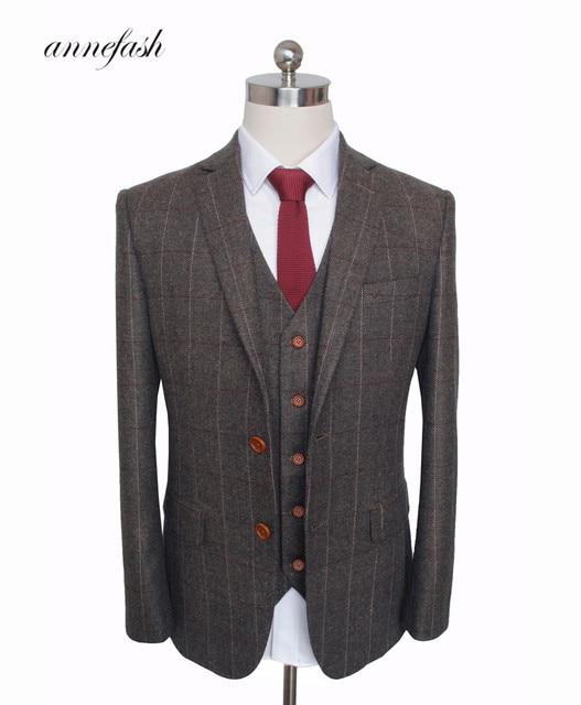 カスタムメイドウールダークブラウン Herringbone Tweed 英国スタイルメンズスーツテーラースリムフィットブレザー結婚式の男性のスーツ 3 ピース