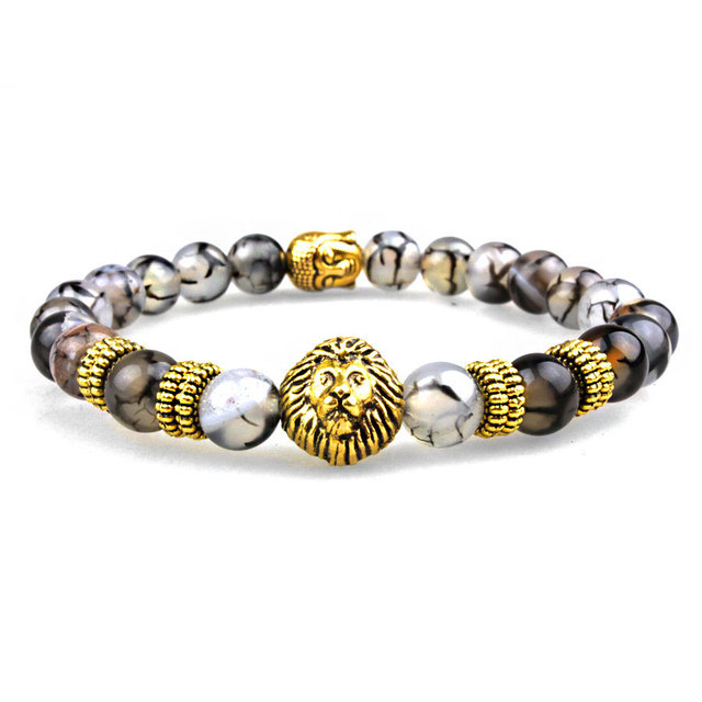 Sn0630 New Lion And Buddha Bracelet Gold Er Stretch Black Line