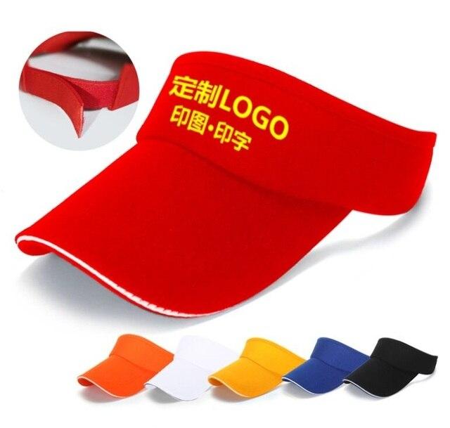 ZHIYING003 Customized DIY Logo Visor Caps New 50pcs a lot Solid Cotton  Adjustable Caps Printed Custom Logo Topless Hats 158f1be293f