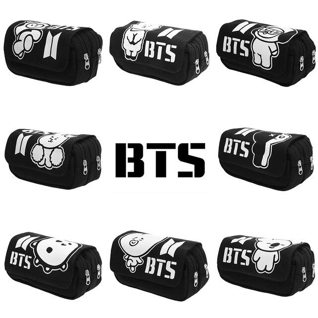3016cfd529 1PC K-pop BTS BT21 Makeup Bag Pouch Canvas Fabric Double Super Big Cosmetic  Bag Multifunction Zipper Box Popular Fans Gifts