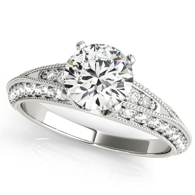 9 K Oro Blanco Diamante Anillo de Compromiso 1CT Corte Redondo Simulado Anillo de Bodas de Diamante Damas Nobles Brillantes Para Siempre Amor Anillo