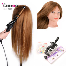 60cm Training Head Cosmetology Mannequin Heads mannequin head with makeup dummy 60% human hair mannequin head can be curled