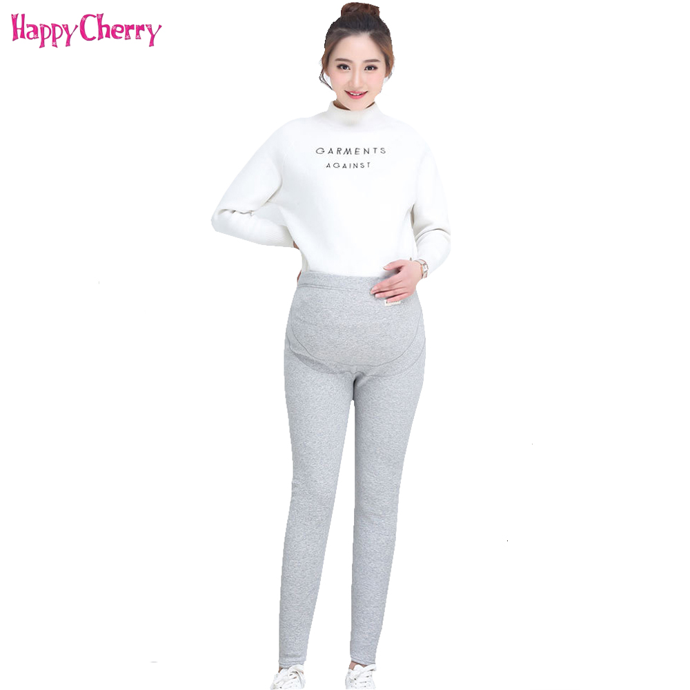 Happy Cherry Maternity Women Pants Pregnant Adjustable High Elasticity Leggings Velvet Trousers Large Size Clothes For Pregnancy winter maternity plus velvet thickening leggings pants clothes for pregnant women warm high waist suspender pregnancy trousers
