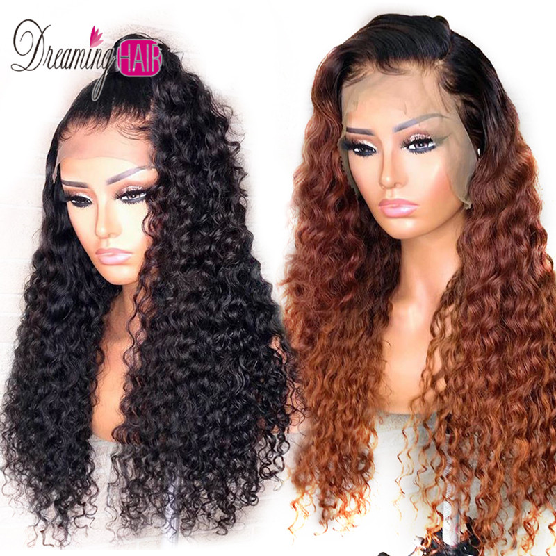 250% Density 13x6 Curly Human Hair Wigs Malaysia Remy Hair Lace Front Human Hair Wigs Thick Ends With Baby Hair Bleached Knots