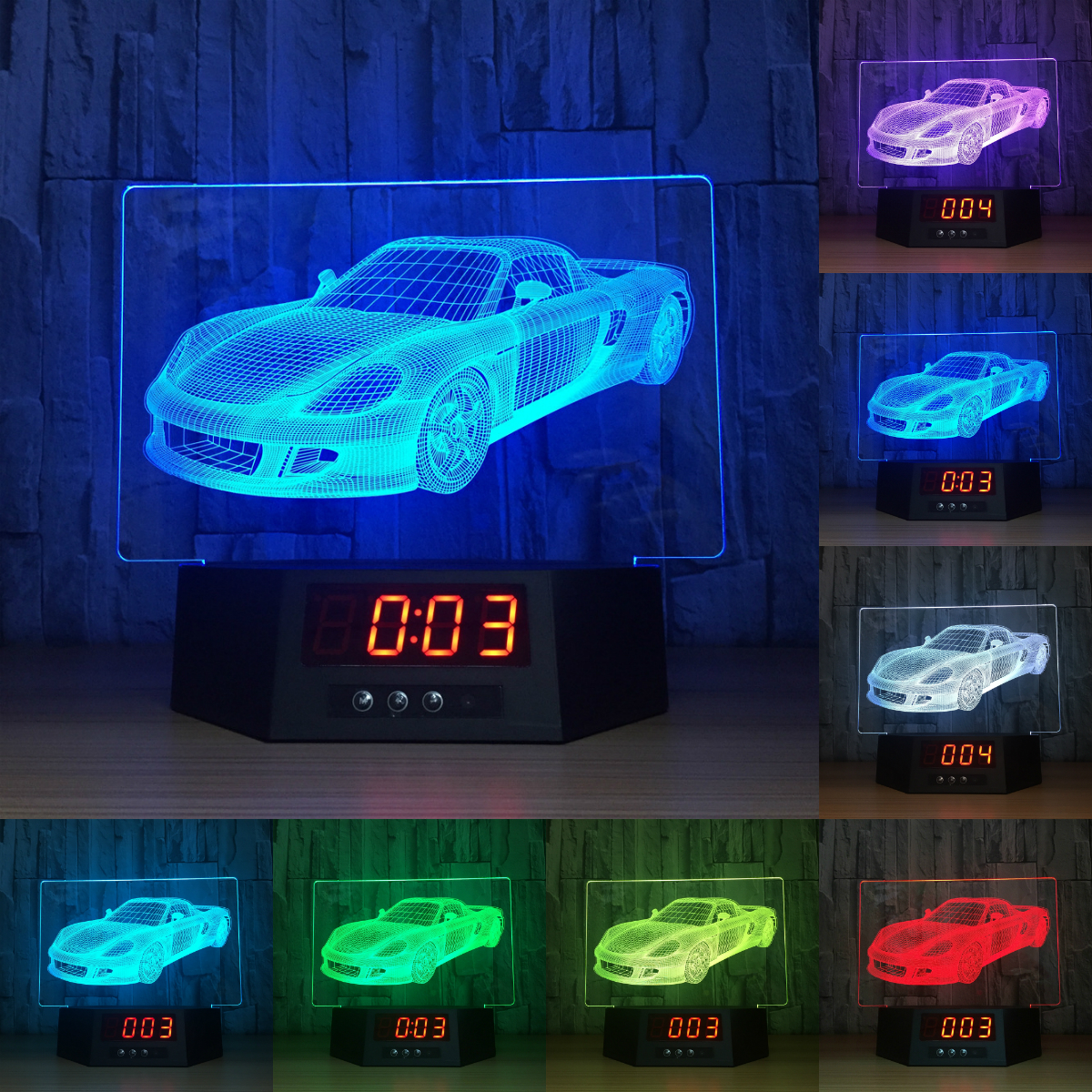 3D LED lights calendar night light touch induction clock remote control lights 7 color changing decorative lights IY803991-25 keyshare dual bulb night vision led light kit for remote control drones