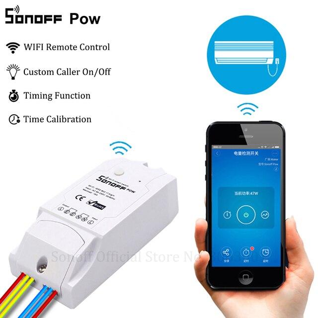Controlador de interruptor Wifi inteligente Sonoff Pow con medición de consumo de energía en tiempo Real 15 A/3500 w dispositivo doméstico inteligente a través de android IOS