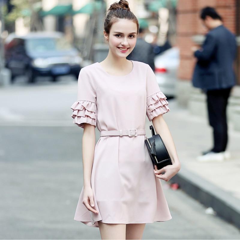 2017 nueva moda de las mujeres elegantes de la gasa dress oficina dress o-cuello