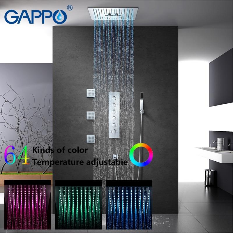 GAPPO Torneiras de Chuveiro rainfall shower set mixer bath torneira Do Banheiro misturador do chuveiro de chuva torneiras cachoeira LED torneira da banheira torneira