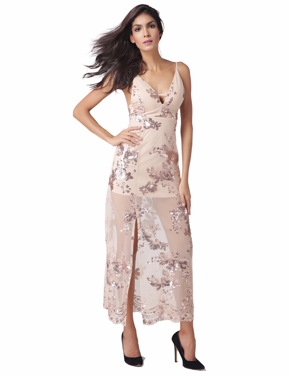 Buy Cheap Womens 2017 Summer Maxi Dress Sleeveless Deep V Neck Off Shoulder Sequined Slim Fashion Halter Dress Apricot