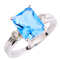 Wholesale New Charming Uuisex Jewelry Emerald Cut Blue Sapphire 925 Silver Ring Size 6 7 8 9 10 Women For Party Free Shipping