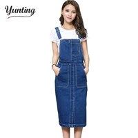 Vintage 2017 Slim Sweet Jeans Dress Women Washed Short Suspender Denim Sundress Denim Overall Dress Free