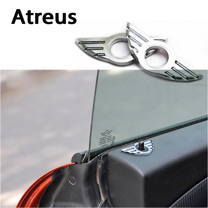 Atreus 1pcs Car-Styling Door Pin Lock Wing Emblem Badge Auto Stickers Decorative For BMW Mini Cooper R56 R50 R53 F56 F55 R60 R57 car styling dog decoration for skoda octavia 2 a7 a5 rapid fabia superb yeti mini cooper r56 r50 r53 f56 f55 r60 r57 accessories