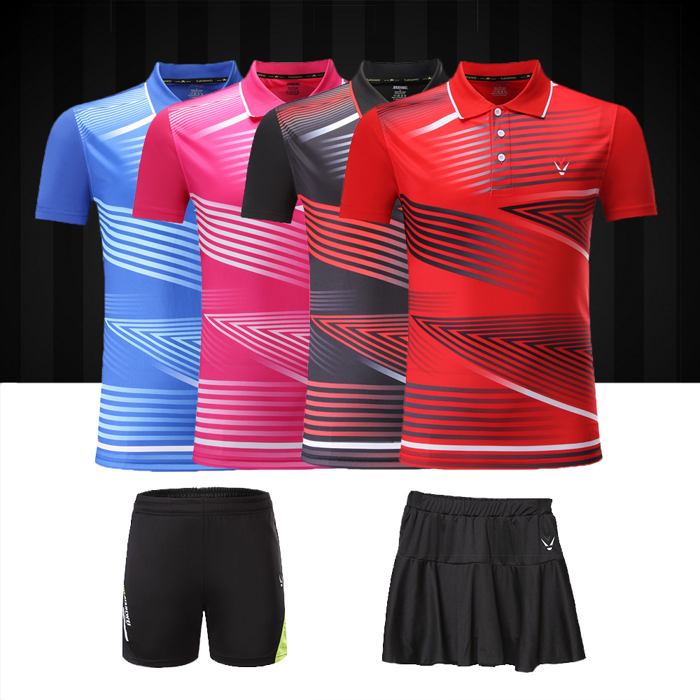 Adsmoney men/women Badminton shirt shorts polo collar badminton golf mens t-shirt table tennis clothes shirt skirt