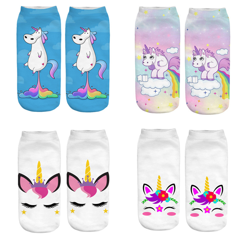 Dreamlikelin Cute Women's 3D Magical Unicorn Socks Pegasus Horse Woman Cotton Ankle Kawaii Socks