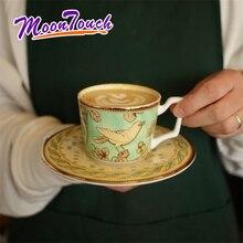 Ceramic Coffee Mug With Plate Milk Cup Breakfast Bone China Fine Blue Bird White Flower Series English Afternoon Teacup