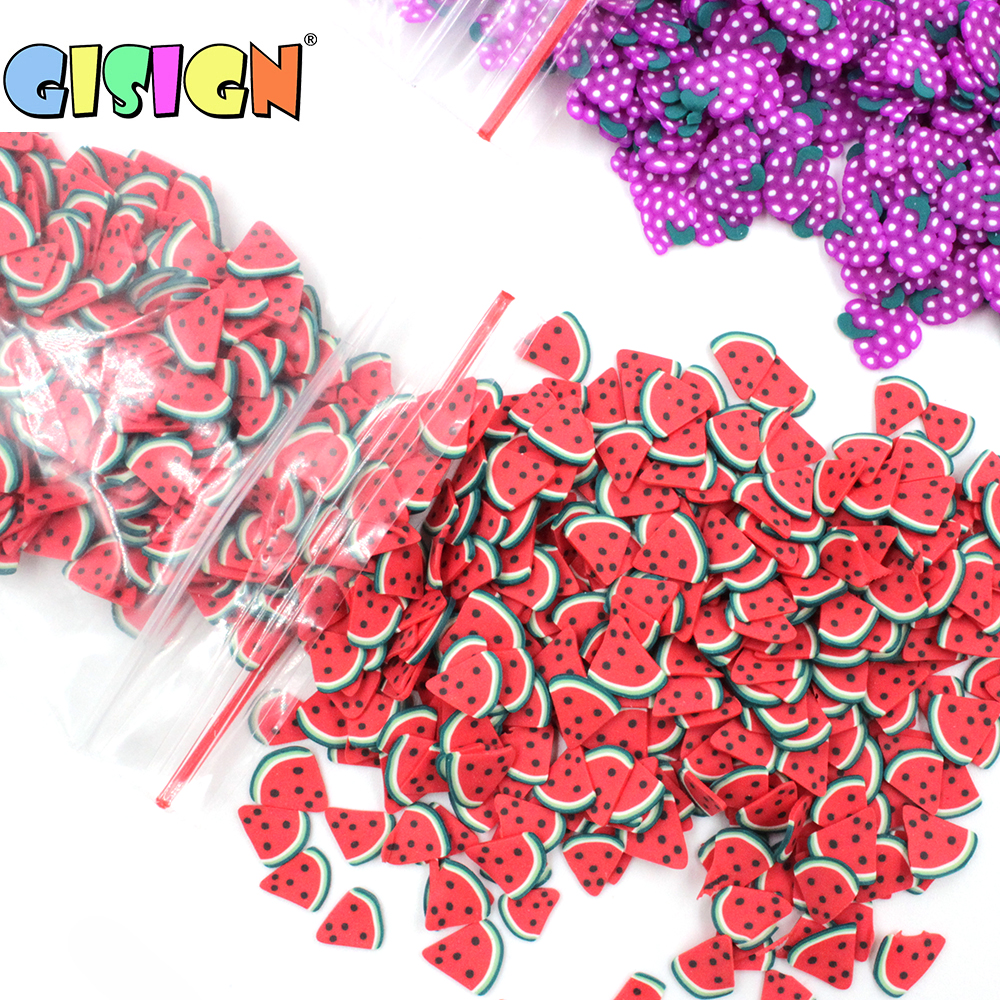 1000pcs/Bag Fruit Fimos Slices Addition Charms For Fluffy Slime DIY Supplies  Polymer Clear Clay Sprinkles Toys Putty Nail Art