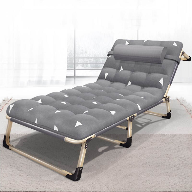 все цены на Folding Single Bed Strong Steel Frame Lunchtime Cot Simple Chaise Lounge with Headrest for Nap Adult Office Escort March