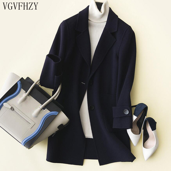 new 2018 Autumn and winter fashion women's 100% Wool cashmere coat Double wool casaco Turn-Down collar Winter wool coat LY1101