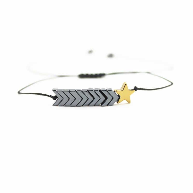 Hematyt z żółty gwiazda bransoletka 6X7mm koraliki bransoletka Macrame plecionki dla kobiet mężczyzn liny splot biżuteria Handmade BZB1002