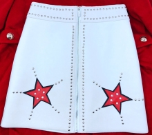 Fashion womens leather rivets skirts  High quality sheepskin real high-waist A-line Skirts A642
