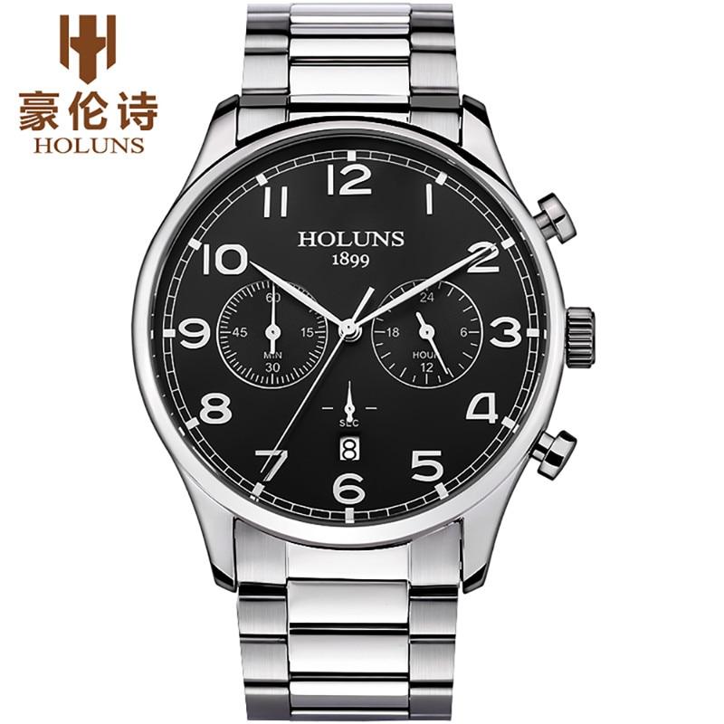 HOLUNS hommes montre de luxe Sport montres à Quartz mâle horloge en acier inoxydable Relogio Masculino Erkek Kol Saati