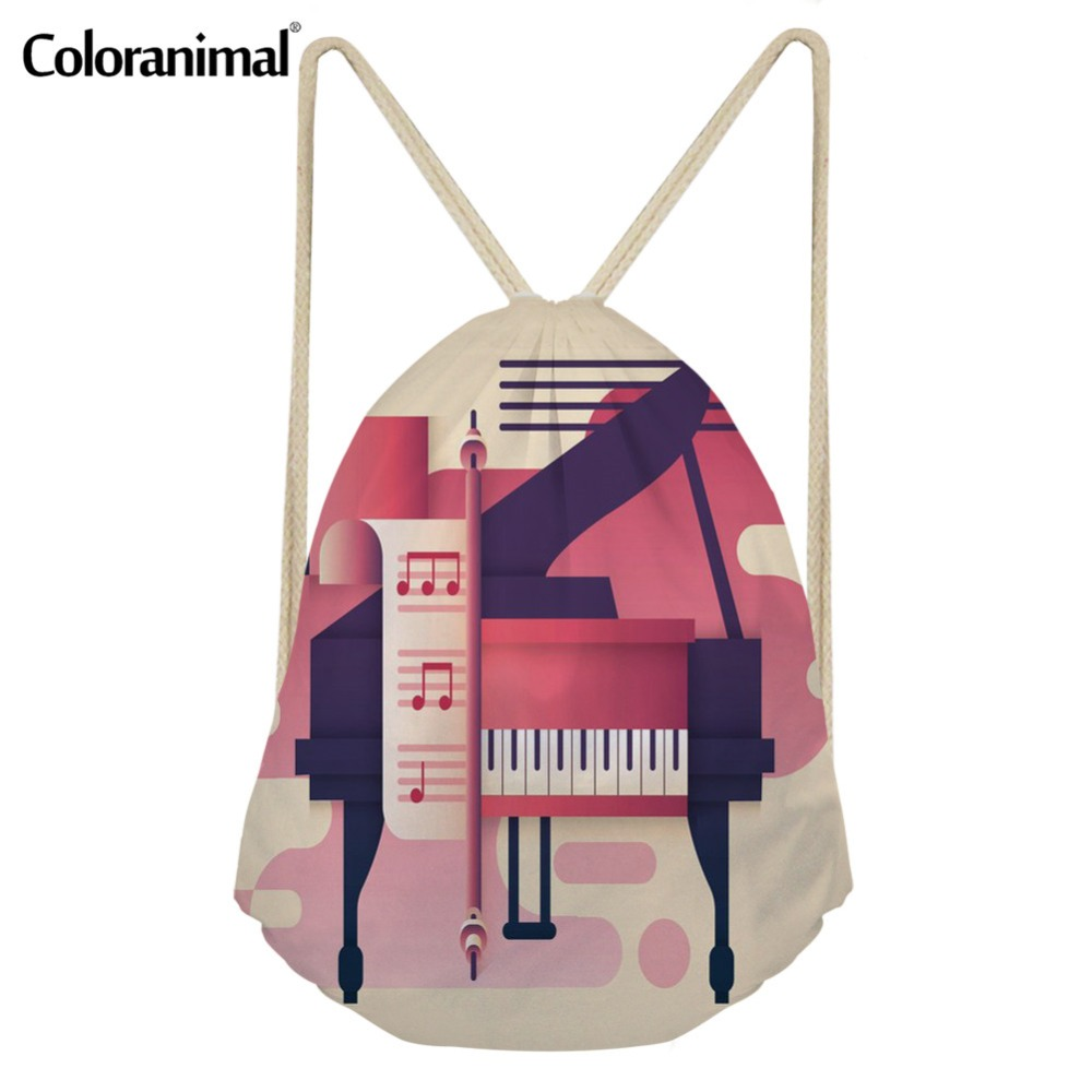 Coloranimal Music Notes With Piano Keyboard 3D Print Drawstring Bag Women Men Reusable Small String Backpack Cinch Sack Satchel