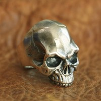 LINSION Handmade 925 Sterling Silver Skull Ring Mens Biker Punk Ring TA100 US Size 7~15