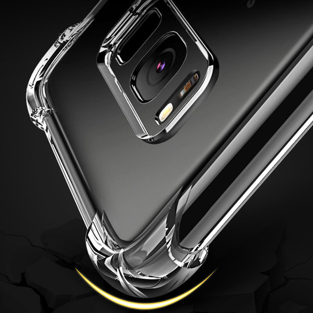 For Samsung Galaxy Note 8 5 4 3 S8 Plus S7 Edge S6 Edge A7 A5 A3 J3 J5 J7 C7 C8 S9 + Shockproof Transparent TPU Protective Case